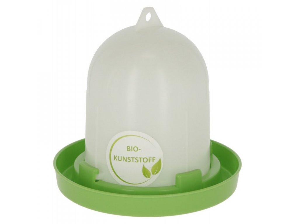Napáječka pro drůbež klobouková s bajonetem, EKO plast, bílá / zelená, 1,5 l
