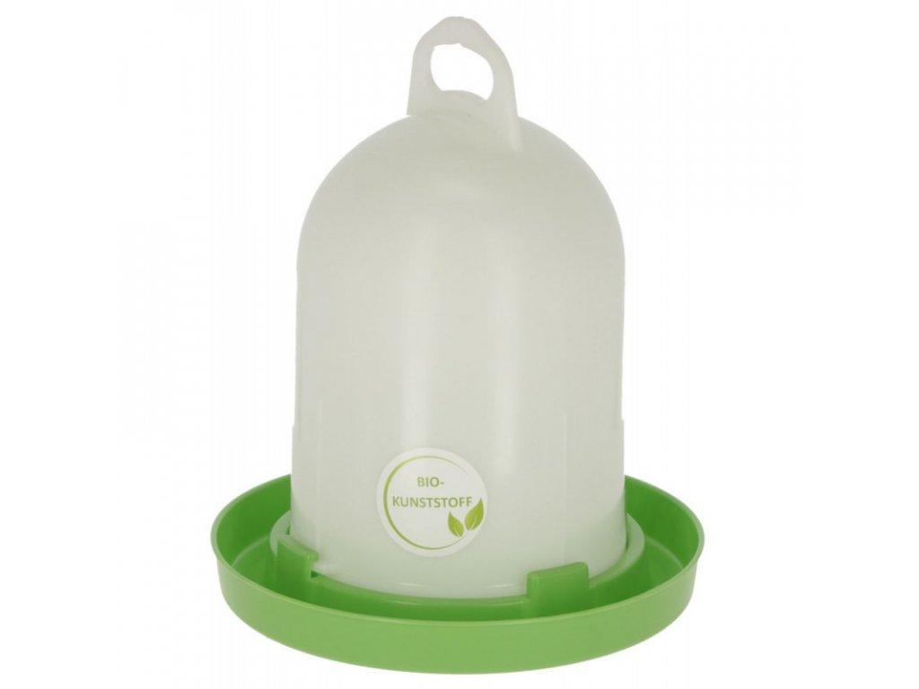 Napáječka pro drůbež klobouková s bajonetem, EKO plast, bílá / zelená, 5,5 l
