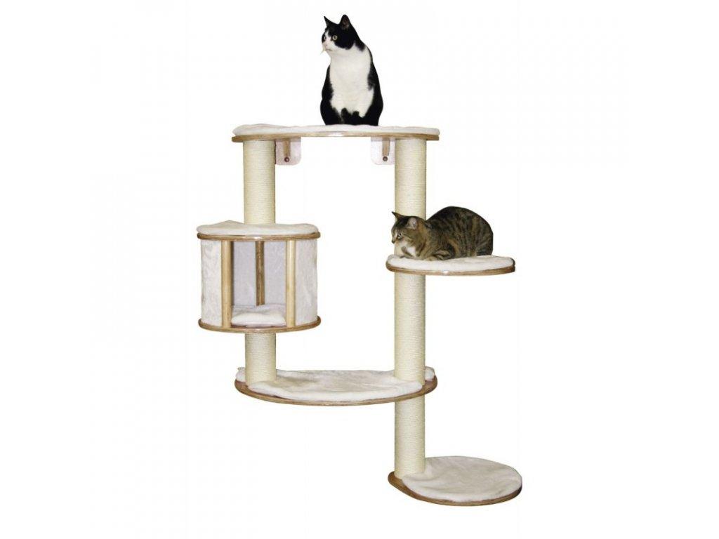 Kočičí strom na zeď DOLOMIT Pro - bílé škrabadlo pro kočky, 117 cm
