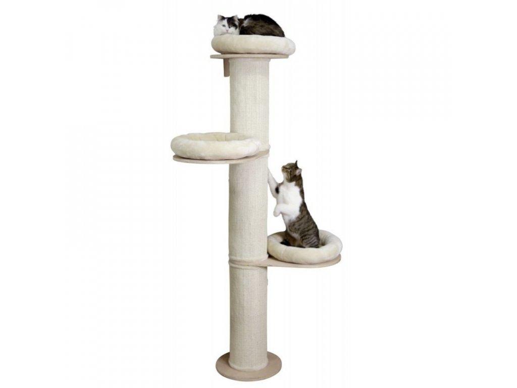 Kočičí strom DOLOMIT Tower - béžové škrabadlo pro kočky, 38 x 187 cm  Dárek - 1x Chejn Myšák 350 g.
