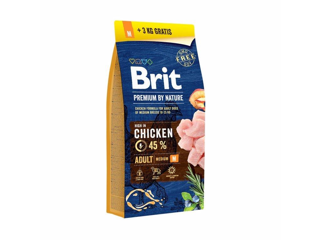 Brit Premium by Nature Adult M 15+3 kg ZDARMA