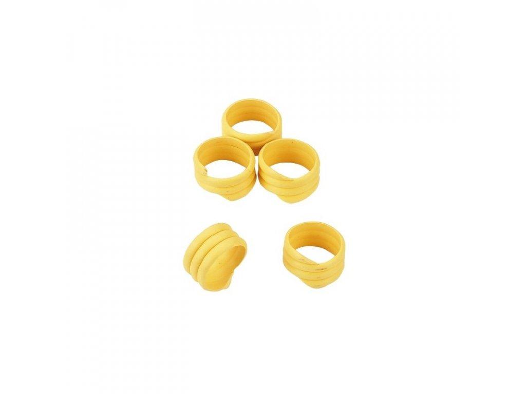 Kroužky na slepice, spirálové, 16 mm, 20 ks, žlutá