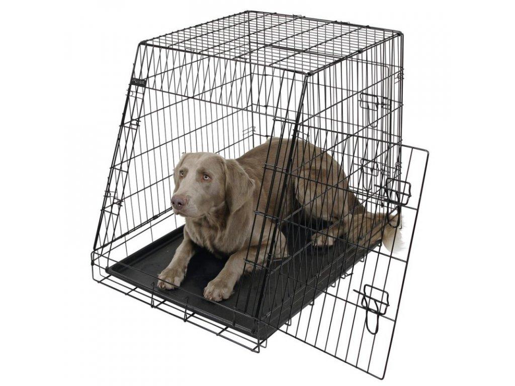 Přepravní box, klec do auta pro psy, 2 dveře, zkosená, 92 x 63 x 74 cm