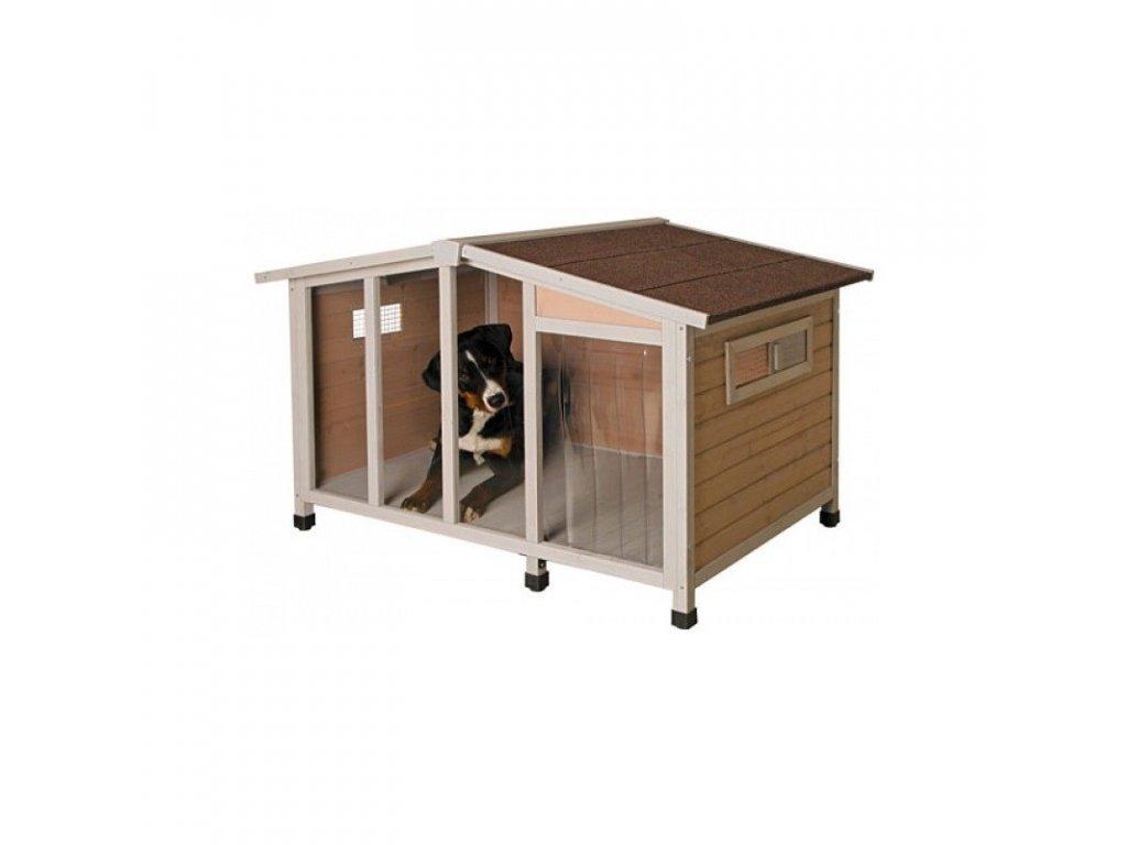 Bouda pro psa OVERVIEW, dřevěná s průhlednou stěnou, 134 x 92 x 82 cm