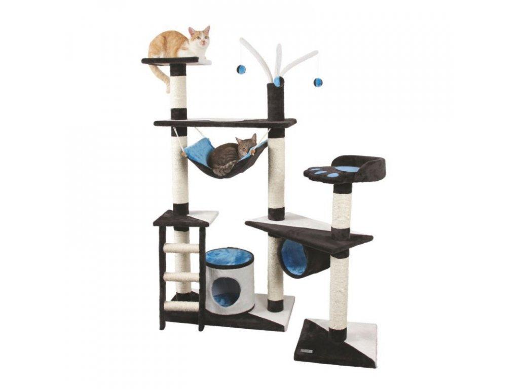 Škrabadlo pro kočky CREATIV - kočičí domek, antracit/tyrkys/bílá