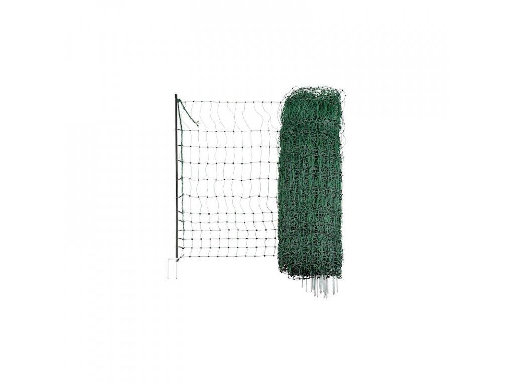 Síť vodivá pro drůbež, 112 cm, zelená, 112 cm x 25 m / 2 hroty