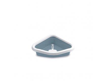 Toaleta pro kočky rohová - Sprint Corner, ocelově modrá