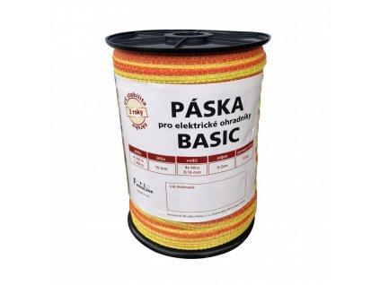 Páska BASIC 10 mm pro el. ohradník, 4x0,16 mm Niro, žluto-oranž., 200 m