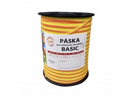 Páska BASIC 10 mm pro el. ohradník, 4x0,16 mm Niro, žluto-oranž., 400 m