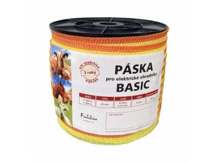 Páska BASIC 20 mm pro el. ohradník, 4x0,16 mm Niro, žluto-oranž., 200 m