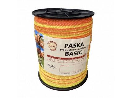 Páska BASIC 20 mm pro el. ohradník, 4x0,16 mm Niro, žluto-oranž., 400 m