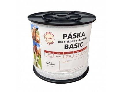 Páska BASIC 20 mm pro el. ohradník, 4x0,16 mm Niro, 200 m