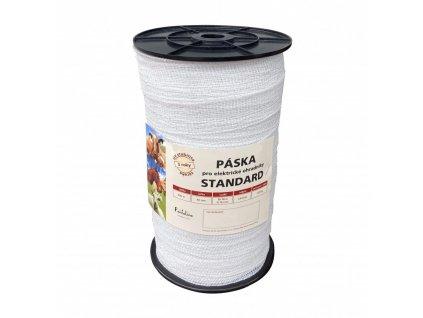 Páska STANDARD 40 mm pro el. ohradník, 8x0,16 mm Niro, 200 m, bílá