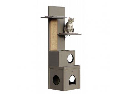 Kerbl škrabadlo pro kočky Alex, šedé, EKO plast, 152 x 42 x 42 cm