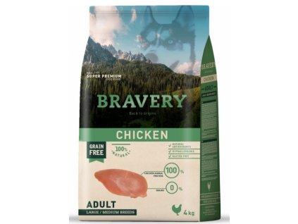 BRAVERY dog ADULT Large / Medium Grain Free chicken 4kg   Tenesco.cz