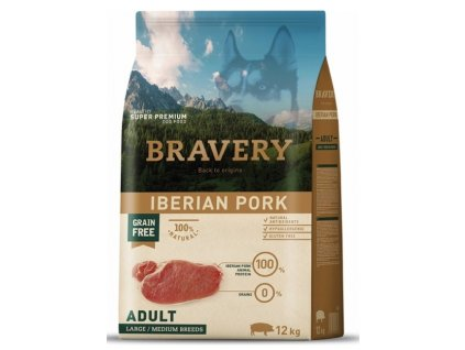 BRAVERY dog ADULT Large / Medium Grain Free Iberian pork 12kg   Tenesco.cz