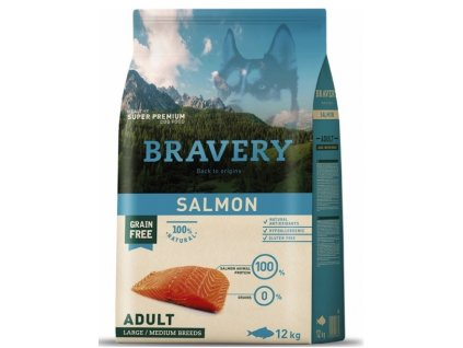 BRAVERY dog ADULT Large / Medium Grain Free salmon 12kg   Tenesco.cz