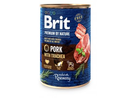 7644 brit premium by nature pork with trachea 400g