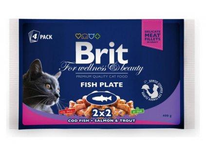 3081 brit premium cat pouches rybi mix 400g treska losos pstruh