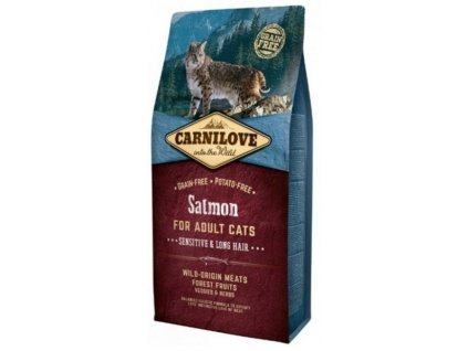 3795 carnilove cat salmon for adult cats sensitive long hair 6kg
