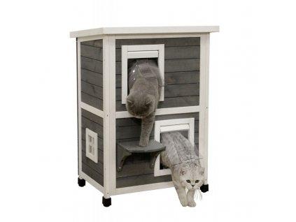 Kerbl Bouda pro kočky Family, dvoupatrová, 57 x 55 x 80 cm