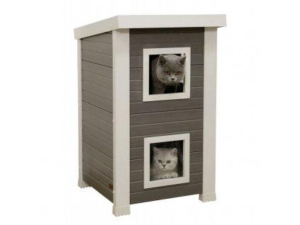 Kerbl Bouda pro kočky - kočičí domek Emila, EKO plast, 49 x 55 x 82 cm  Chejn - Mia exclusive masová konzerva s hovězím masem