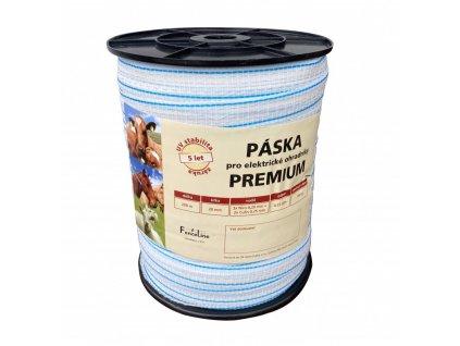 Páska PREMIUM 20 mm pro el. ohradník, 3x0,20 mm Niro + 2x0,25 mm CuSn, 200 m, bílo-modré