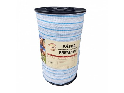 Páska PREMIUM 40 mm pro el. ohradník, 3x0,20 mm Niro + 3x0,25 mm CuSn, 200 m, bílo-modré