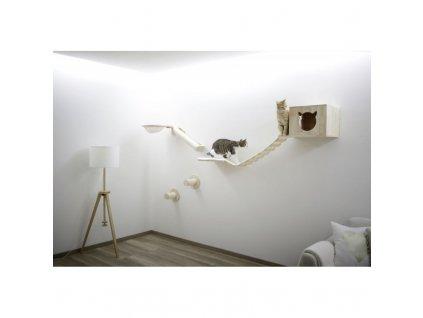 Škrabadlo pro kočky Anden, sada nástěnných pater, přírodní / bílá, 8 ks