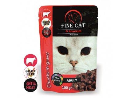 Fine Cat kapsička Grain-Free Adult hovězí v omáčce