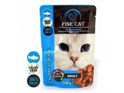 Fine Cat kapsička Grain-Free Adult losos v omáčce
