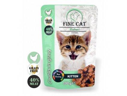 Fine Cat kapsička Grain-Free Kitten kuřecí v omáčce