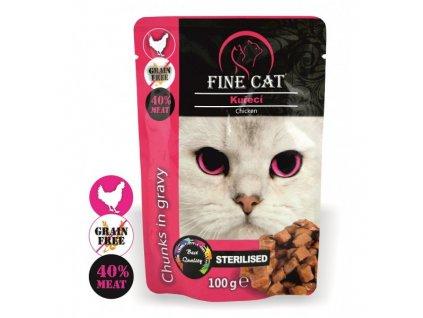 Fine Cat kapsička Grain-Free Sterilised kuřecí v omáčce
