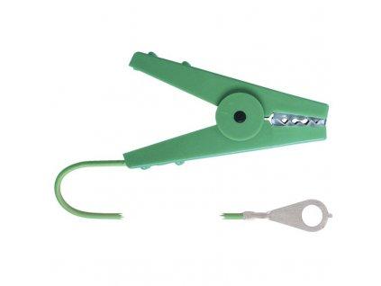 Kabel propojovací pro el. ohradníky - zdroj/zemnící tyč, 100 cm, zelený