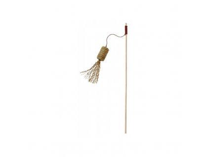 Hračka pro kočky - prut s válečkem z mořské trávy, 41 cm