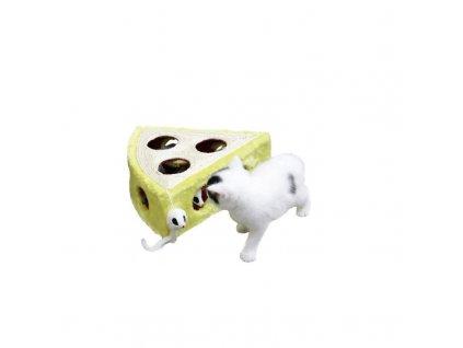Hračka pro kočky Cheesy - sisalový sýr s myší