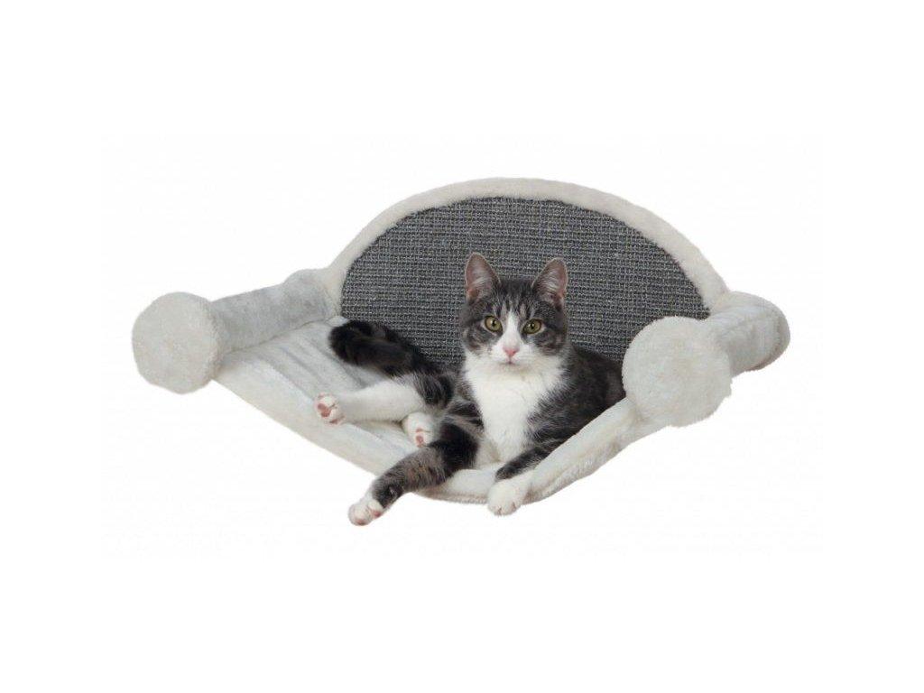 Škrábadlo na stěnu s lehátkem pro kočku 54x28x33 cm