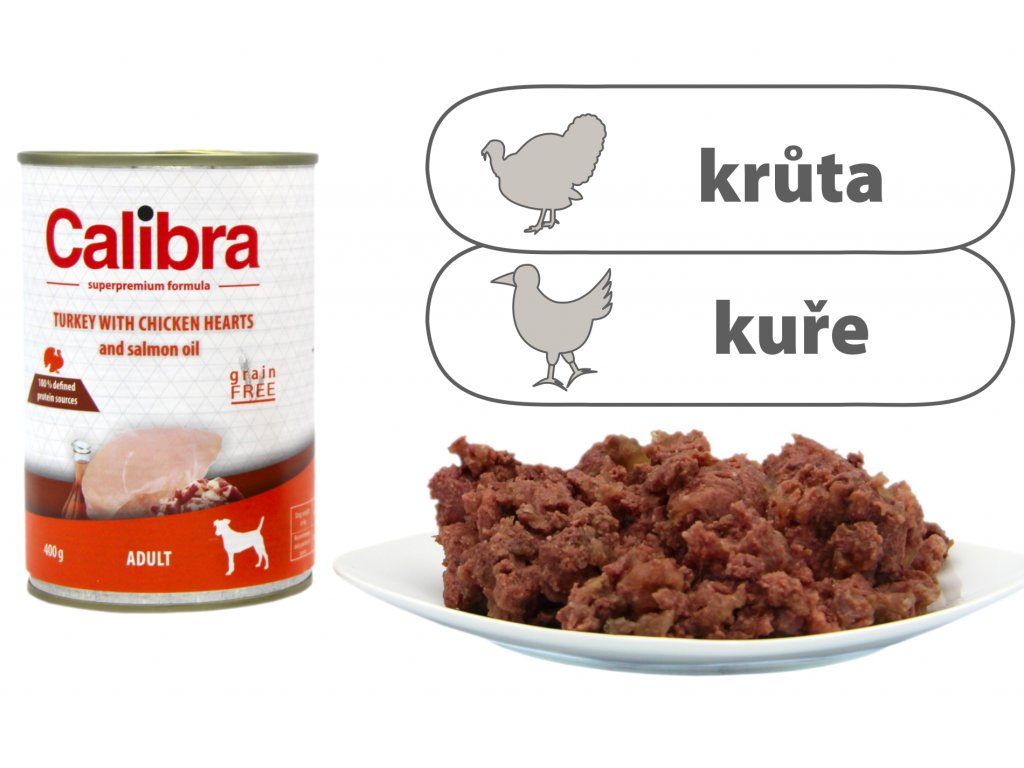 Calibra Turkey with Chicken Hearts štítek