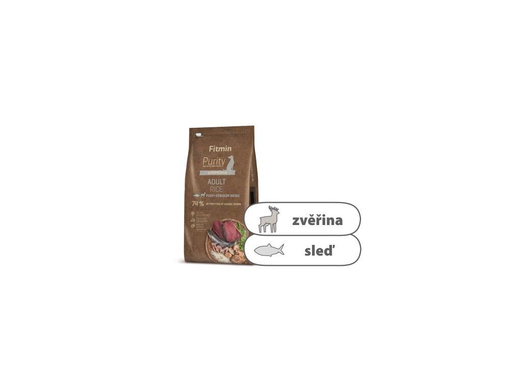 Fitmin Purity Rice Adult Fish & Venison Rice 12 kg + 1 kg ZDARMA