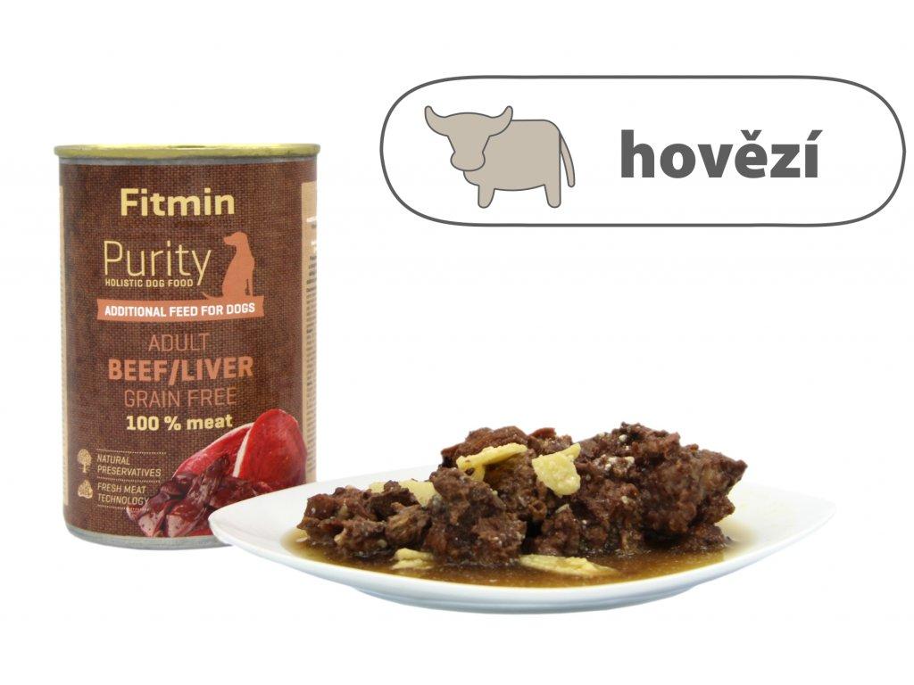 Fitmin Purity Hovězí konzerva s játry pro psy 400 g