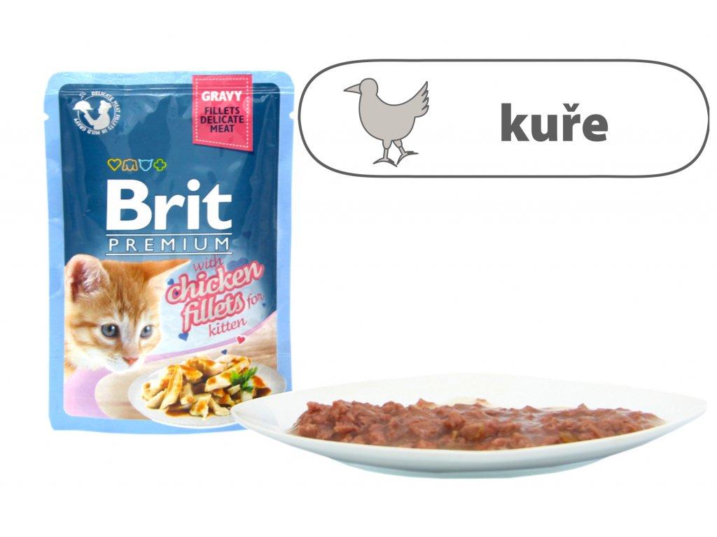 Brit Premium Cat Delicate Fillets in Gravy Chicken for Kitten 85 g