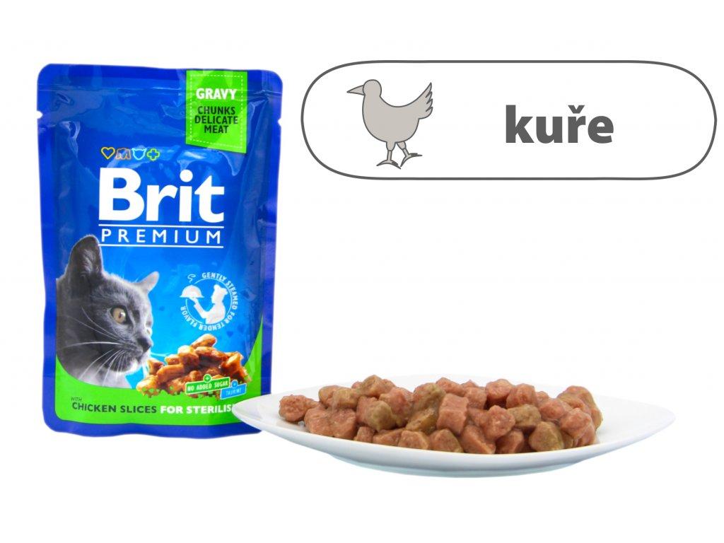 Brit Premium Cat Pouches kuřecí kousky pro kastrované kočky 100 g