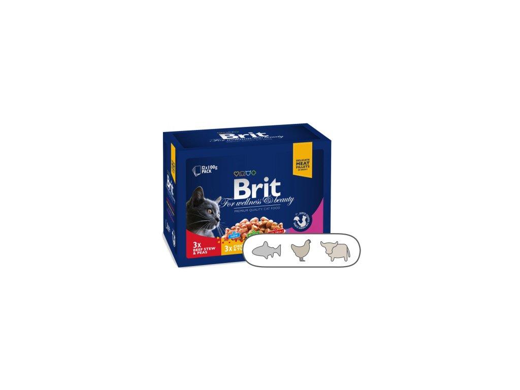Brit Premium Cat Pouches MASOVÝ a RYBÍ MIX 1200 g (kuře, hovězí, treska, pstruh)