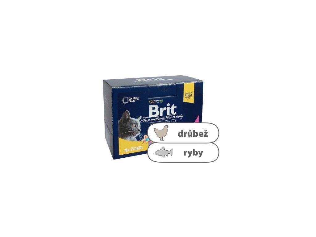 Brit Premium Cat Pouches MASOVÝ a RYBÍ MIX 1200 g (kuře krůta, treska, losos pstruh)