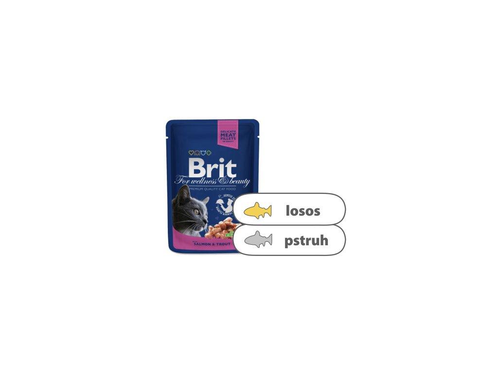 Brit Premium Cat Pouches s lososem a pstruhem 100 g