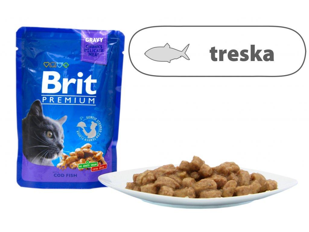 Brit Premium Cat Pouches s treskou 100 g