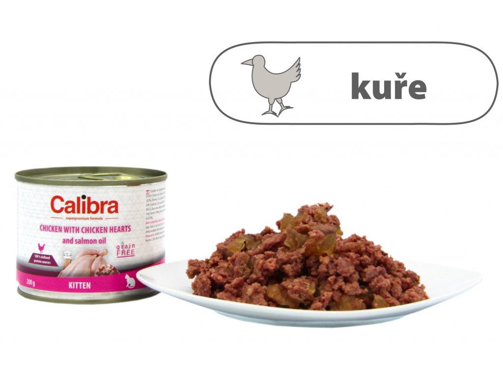 Calibra Cat konz. Kitten kuře a kuřecí srdíčka 200 g