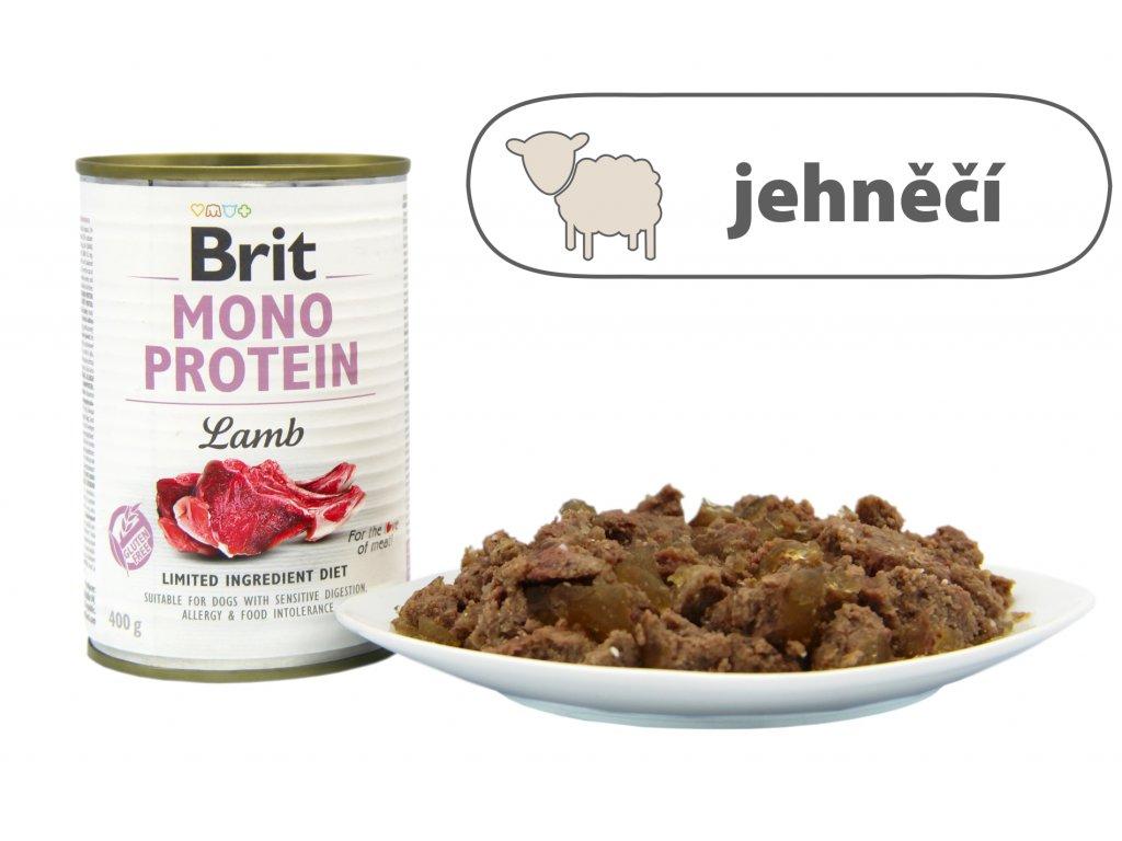 Brit Mono Protein Lamb, Konzerva plněná jehněčím masem pro psa. Krmivo nejlepší kvality. Krmiva u Toma, www.krmivautoma.cz, pes, kousky masa, žrádlo, psí konzerva, konzerva pro psa, konzerva pro psy, 400g, malá konzerva, velká konzerva, mono protein, lamb, jehněčí.
