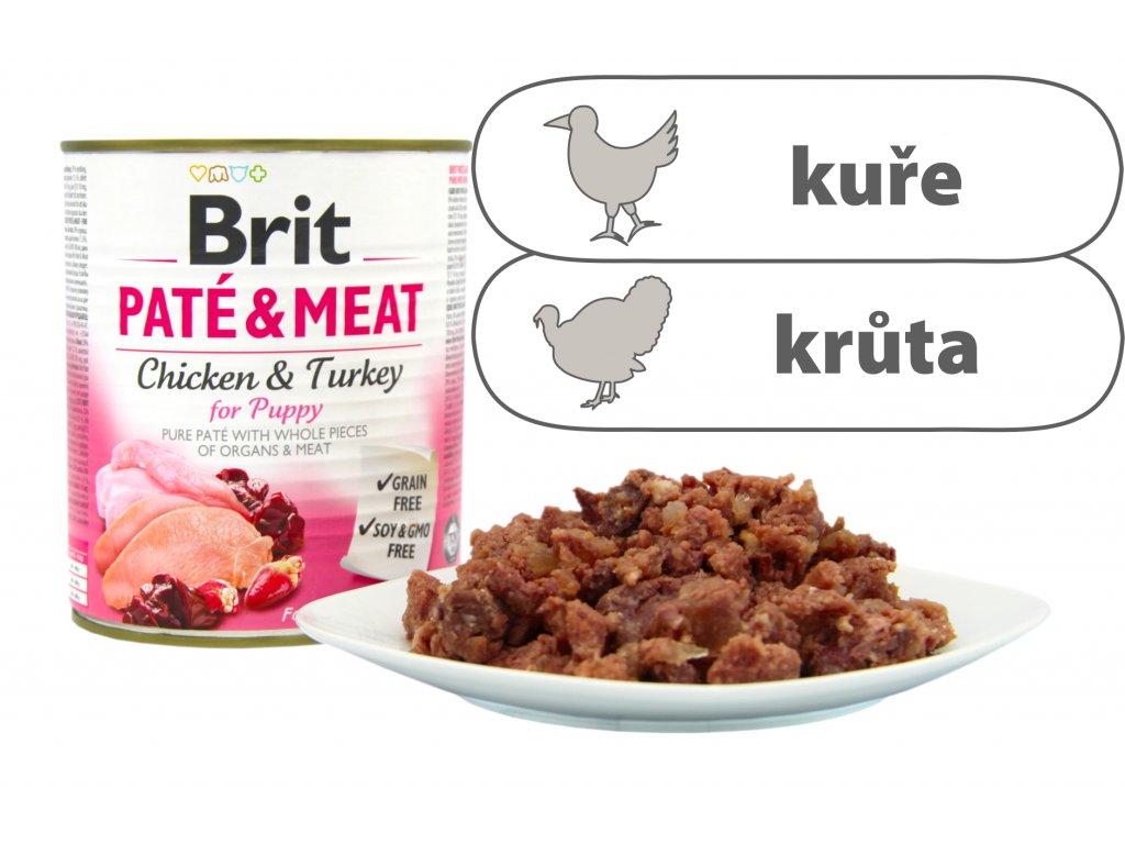Brit Pate and Meat for Puppy větší konzerva štítek