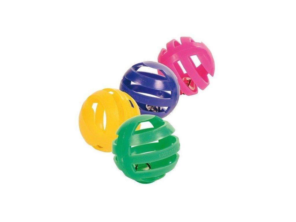 Sada 4 ks plastových míčků s rolničkou 4 cm